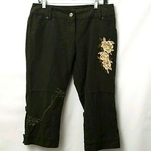 Beatrice Womans Capri Brown Embroidered Pants